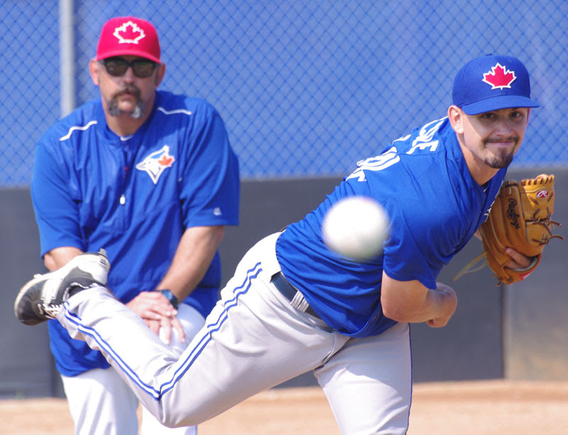 RHP Taylor Cole returned to the mound at class-A Dunedin with a 61-pitch outing. Photo: Jay Blue.