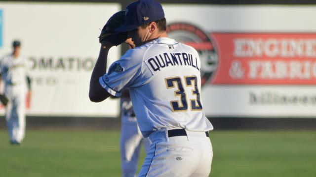 RHP Cal Quantrill (Port Hope, Ont.) with the class-A Tri-City Dust Devils ...