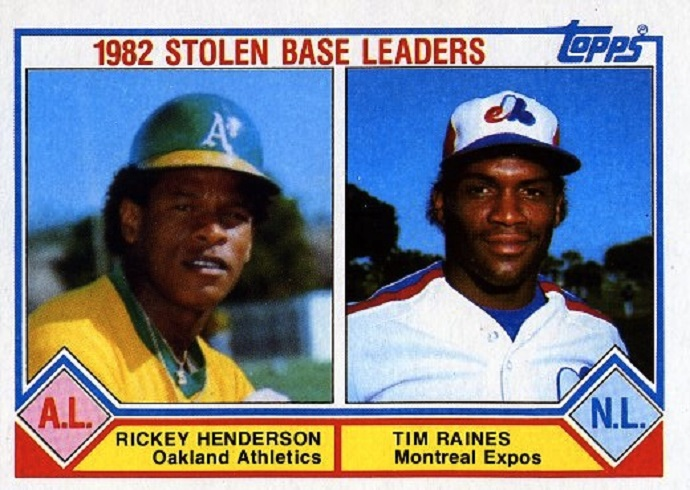 Lead-off hitters and base stealers Rickey Henderson, left and Tim Raines are on the same baseball card ... will they belong  the same Hall of Fame next month?