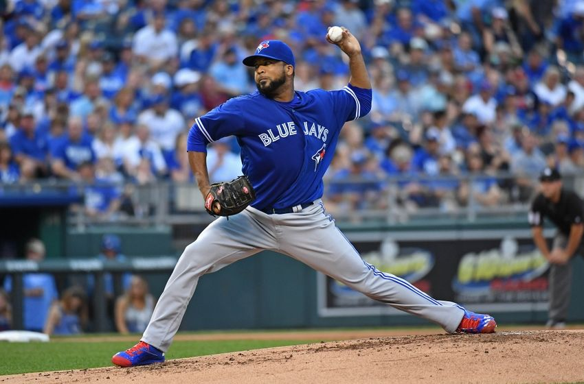 Aug 5, 2016; Kansas City, MO, USA; Toronto Blue Jays pitcher Francisco Liriano (45) delivers a pitch against the Kansas City Royals during the first inning at Kauffman Stadium. Mandatory Credit: Peter G. Aiken-USA TODAY Sports