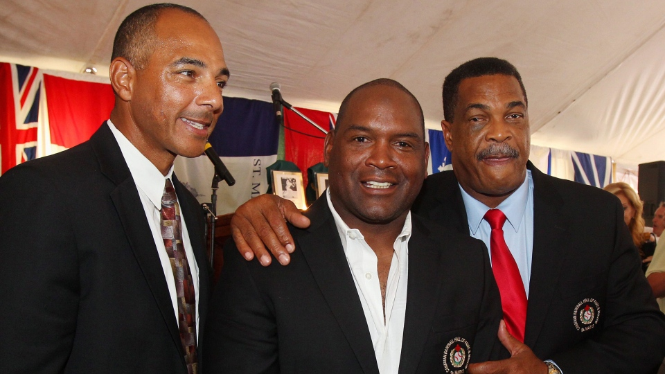 Rob Ducey (left to right) Tim Raines and George Bell during the 2013 induction ceremonies at the Canadian Baseball Hall of Fame in St. Marys.