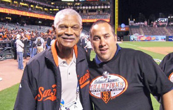 Felipe Alou, left and Raimondo Callari ... after another San Francisco Giants win