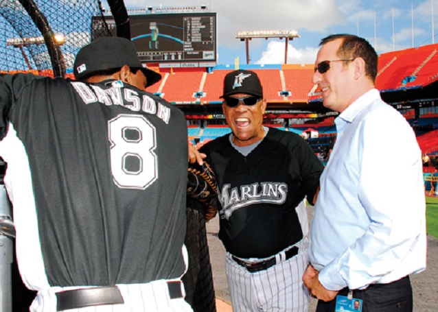 Hall of Famers Andre Dawson, left, Tony Perez, centre and Marlins VP P.J. Loyello.