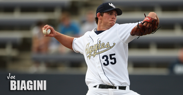 RHP Joe Biagini, current Blue Jays when he was pitching for the UC Davis Aggies.