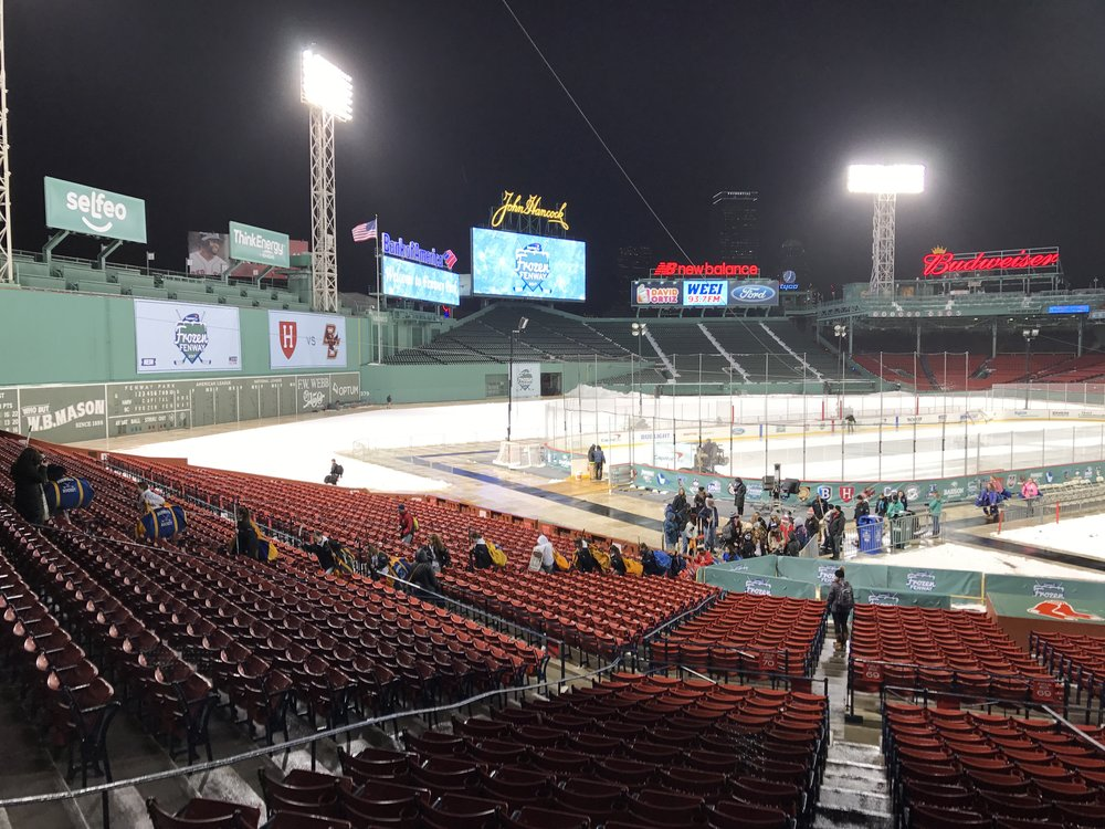 Maxx Tissenbaum (Toronto, Ont.) a Toronto Mets grad and now a Colroado Rockies farmhand tooks in his sister Molly Tissenbauum's game at Fenway Park at Molly played goal for Harvard.