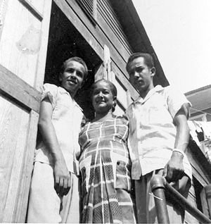 Ernesto Gonzalez-Martinez (left) in Puerto Rico, with his mother, Aurora Martinez, and brother, Alfredo Gonzalez-Martinez.