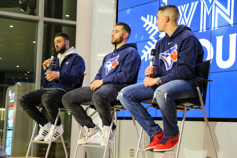 Kevin Pillar, Marco Estrade and Aaron Sanchez on the Blue Jays winter tour to Edmonton. Photos: Amanda Fewer.