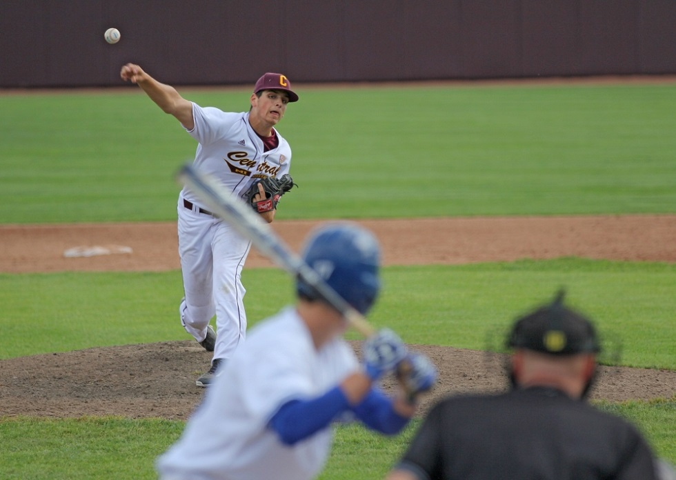 RHP Michael Brettell (Fonthill, Ont.) of the Central Michigan Chippewas, a Great Lakes Canadians grad, is 95th on the top 100 Perfect Game sophomores for the 2018 draft. Photo: Monica Bradburn.