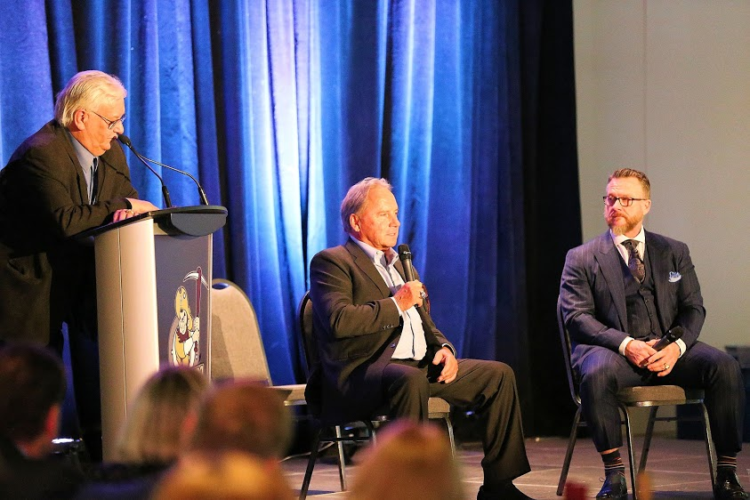 Al Coates, left,  moderated a Hot Stove panel with Orv Franchuk and Jays broadcaster Gregg Zaun.