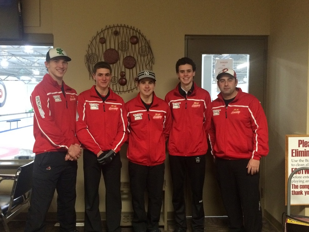Tyler McWillie, Riley Helston, Jake Libbus, Pacen Anderson and coach Brad Mcinnes.