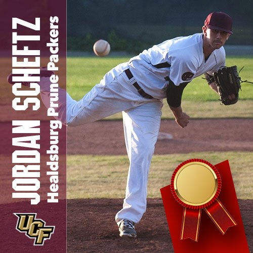 RHP Jordan Scheftz had an impressive summer with the Hearldssburg Pruce Packers in summer ball and is now with the Central Florida Knights