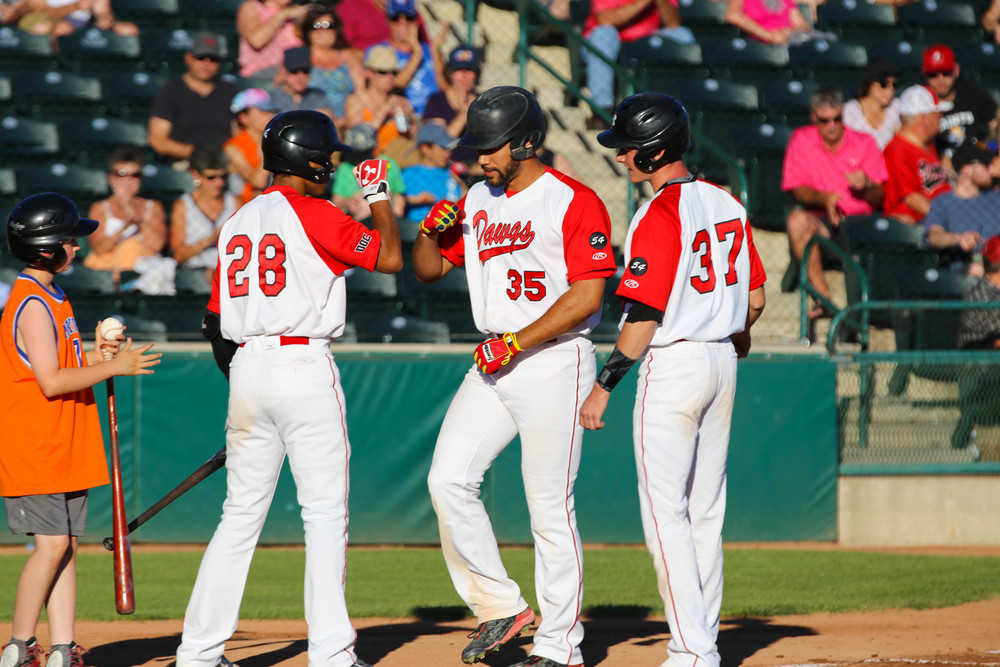 1B Kellen Marruffo (35) crossed home plate after one of his six homers hit last summer with the Okotoks Dawgs. He hopes to hiit more this summer with the Winnipeg Goldeyes. Photos: Amanda Fewer.