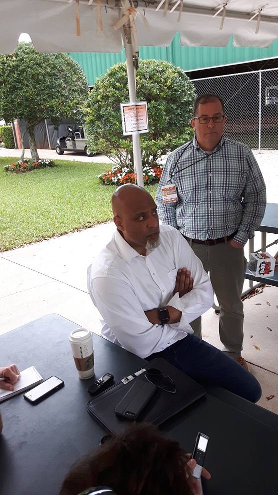 Players Association boss Tony Clark and  his assistant Greg Bouris visit Jupiter on their tour of spring training camps. Photo: Danny Gallagher.