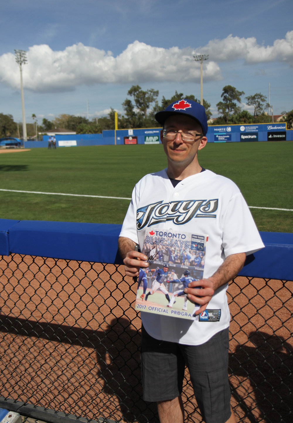 Blue Jays fan Matt Harvey, seen here at spring training in Dunedin, says being on the autism spectrum helps him keep tabs on his favourite team. Photo: Matt Antonacci