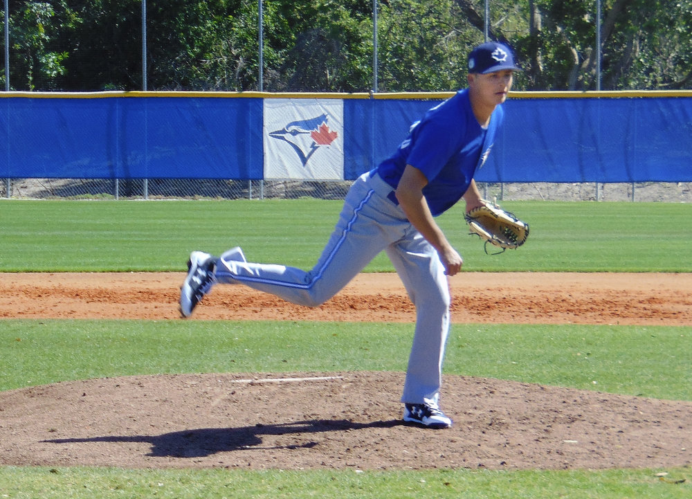DUNEDIN, FL - March 7, 2017 - Justin Maese throws from the mound at the Blue Jays Spring Training practice facility. Maese is coming off a strong year at single-A and was a third round pick in the 2015 MLB Draft. 