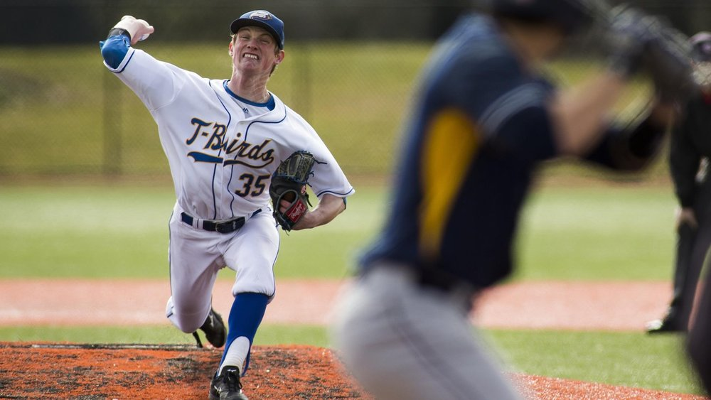 Connor Noble pitched the win in the UBC Thunderbirds opener pitching 8 1/3 innings, allowing seven hits and two earned runs in a 3-2 win over Corban.