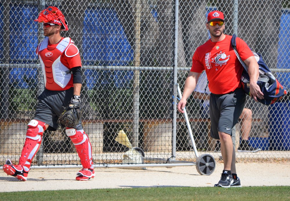 Ontario Blue Jays grads George Kottaras (Markham, Ont.) and Mike Reeves (Peterborough, Ont.) shared catching duties for Canada at the WBC.