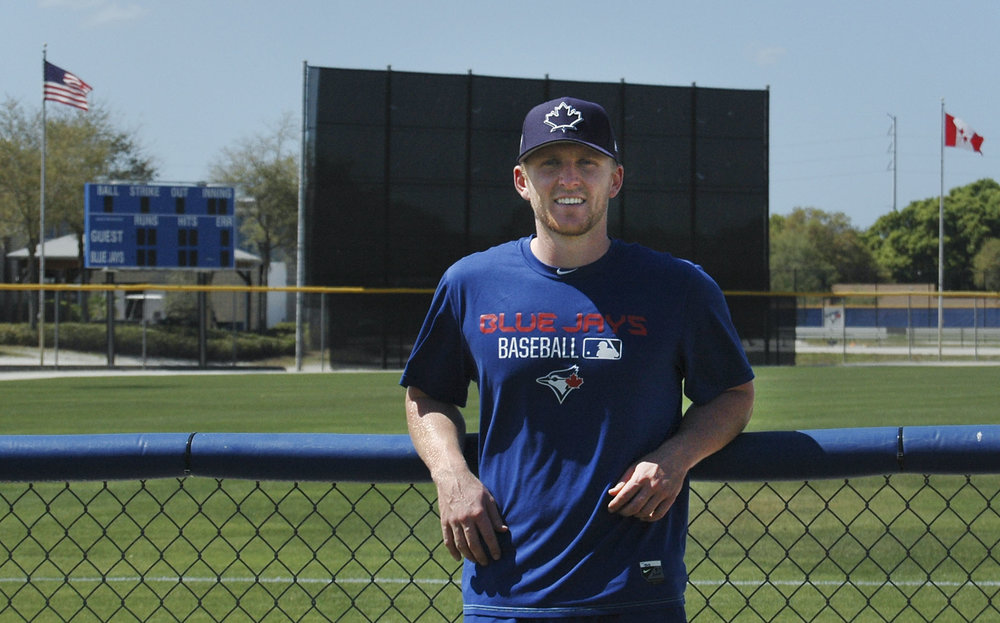 DUNEDIN, Fla - March 7, 2017 - Travis Bergen makes his second appearance at Blue Jays minor league spring training. Bergen is looking to improve his pitching for the upcoming season and better his game in hopes of cracking the Jays' roster soon. 