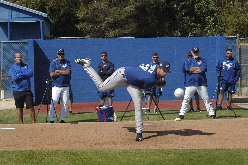 Jays No. 1 pick T.K. Zuech throws a bullpen. Photo: Ben Holmes