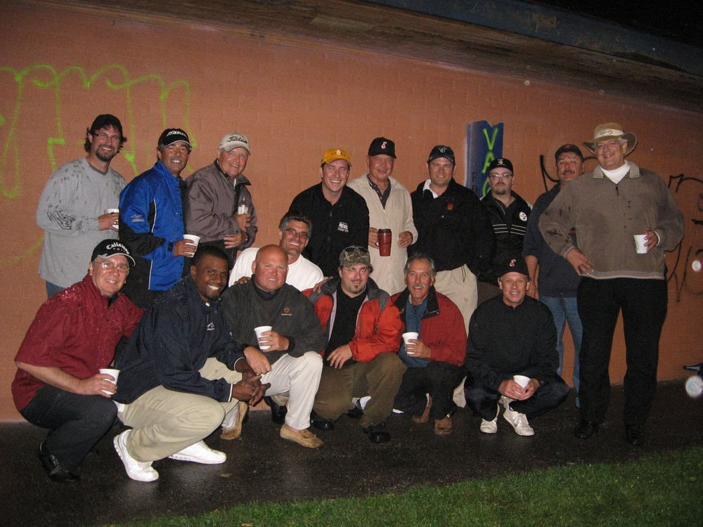 Golf Pic (Back, left to right): Mike Gauthier, Jimmy MacDougal, Henry Andrulis, Joe Jurus, Troy Matty, Ric Fluery, Damian Ceislik, T-Bone John Williams, Whitey Breitner and Cec Koslowski. (Bottom left to right): John Cottrell, Rob Borden, Greg Miner, Steve Sidoriak, Curt Duggan and Bill Thompson.
