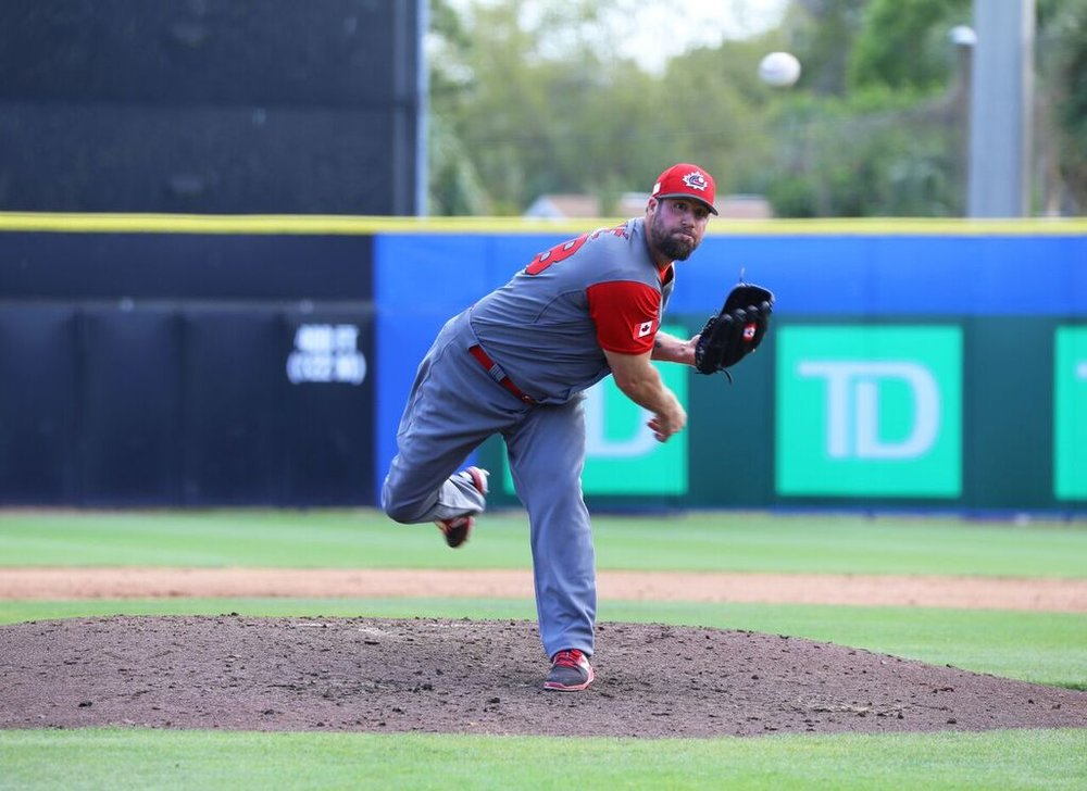 RHP Eric Gagne (Mascouche, Que.) returned after pitching in indy ball to wear the CANADA uniform in the WBC. Postt-tourney he threw a bullpen to audition for scouts. Photos: By Amanda Fewer.