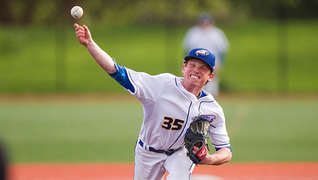 RHP Connor Noble (Vancouver, BC) worked seven scoreless in UBC's win over Idaho. Photo: Bob Frid.