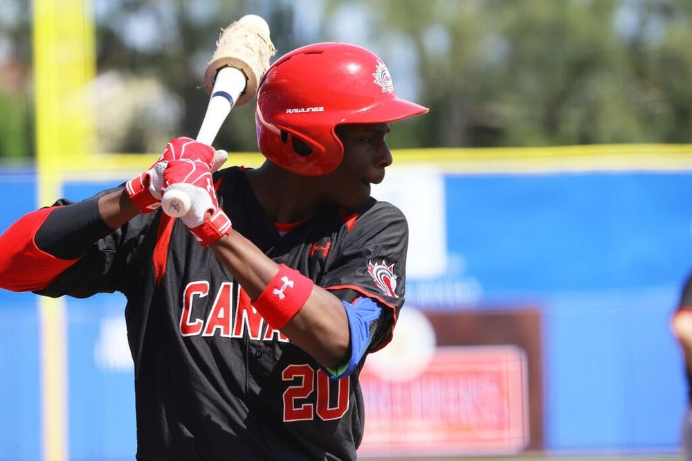 OF Denzel Clarke (Pickering, Ont.) of the Toronto Mets ...