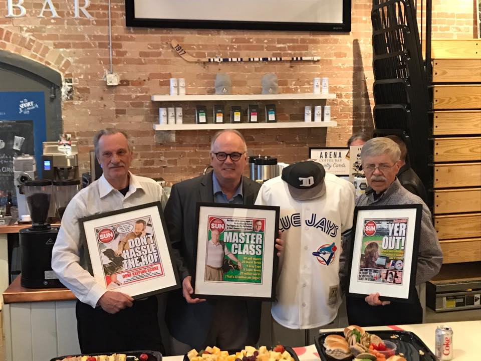 Former Toronto Sun baseball scribes, from left to right Bill Lankhof, Ken Fidlin, a mannequin subbing for absent Mike Rutsey and some other guy, were toasted at The SPORT Gallery in Distillery area, owned by former Sun sports editor Wayne Parrish. Former bosses Mike Simpson, Jim O'Leary, Scotty Morrison, and Pat Grier were on hand for the event, hosted by Lance Hornby.