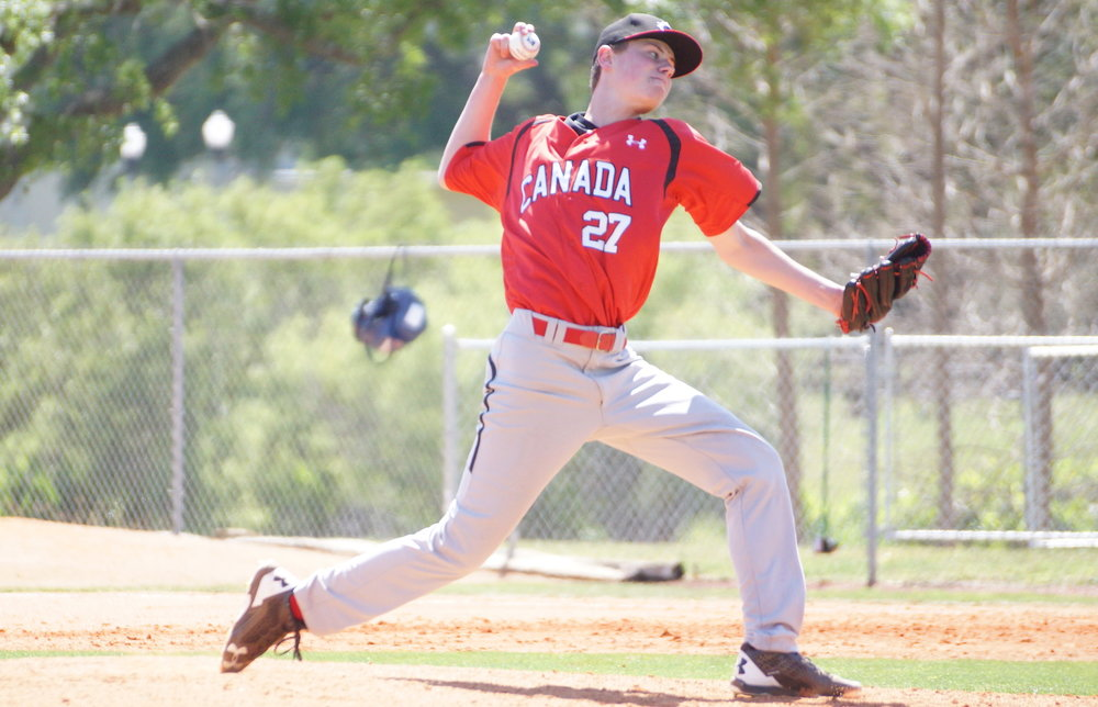Griffin Hassall (Newmarket, Ont.) of the Great Lakes Canadians fanned six over three scoreless innings in a lopsided loss to Attlanta Braves prospects. Photo: Eddie Michels.