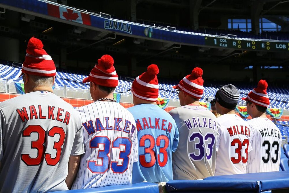 A fitting tribute ... fans showed in different Larry Walker uniforms to show Hall of Fame suppport for Larry Walker.