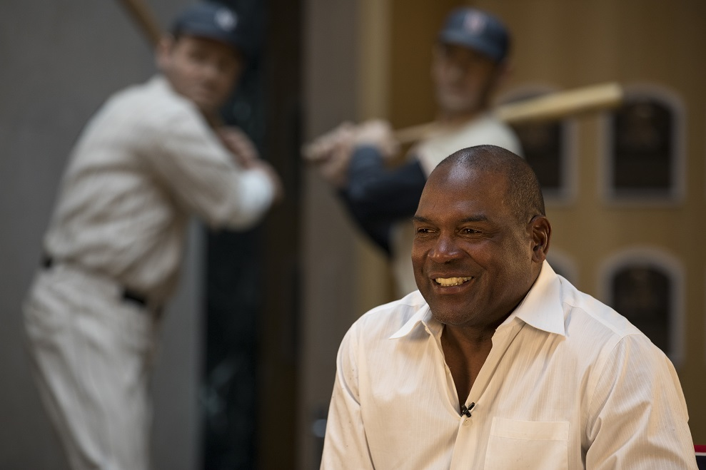 Former Montreal Expos OF Tim Raines sits in a director's chair answering questions in the plaque gallery at the Hall of Fame. Photos: Milo Stewart Jr./National Baseball Hall of Fame and Museum