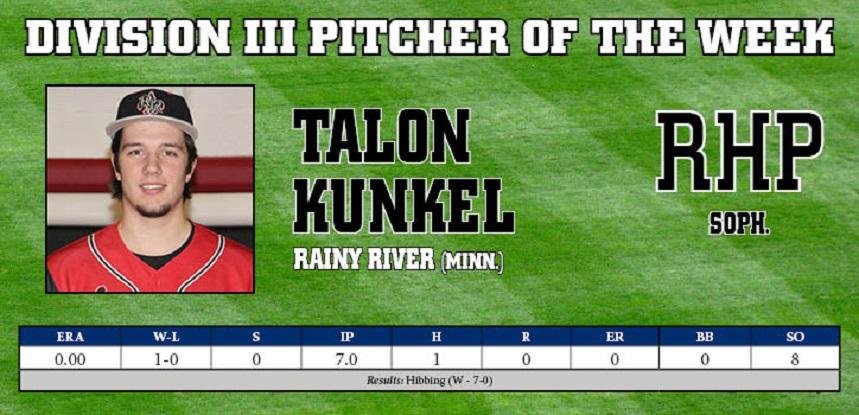 RHP Talon Kunkel (Saskatoon, Sask.) transferred from Rainy River to Union