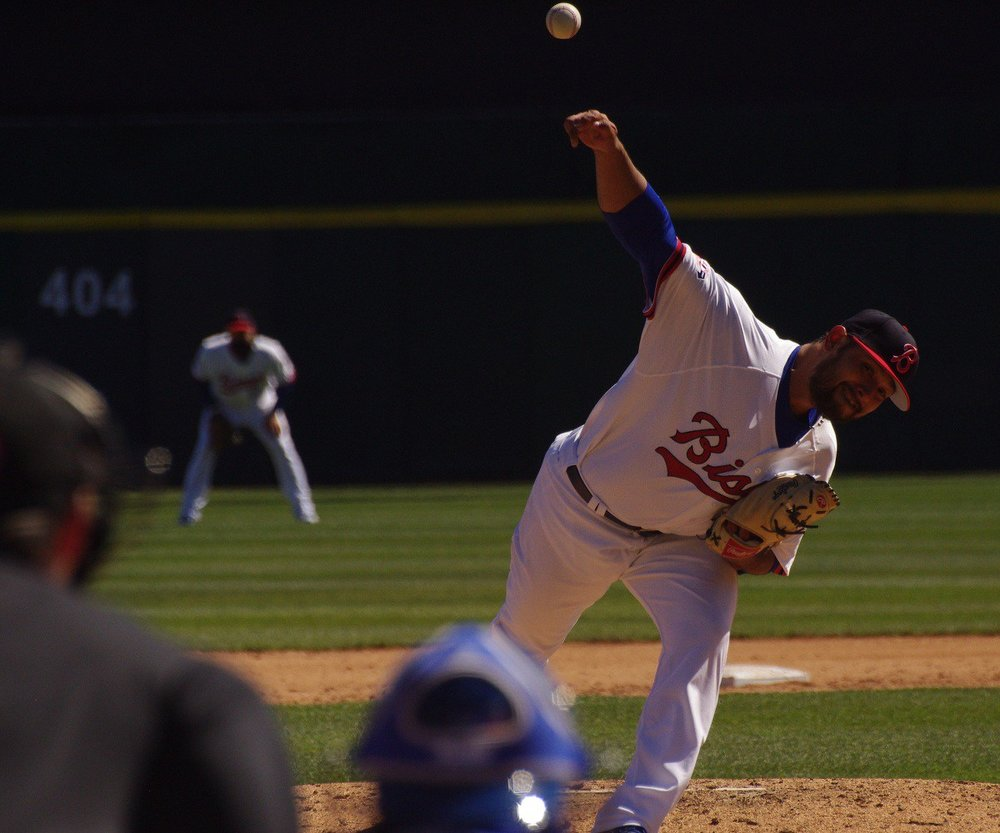 Leonel Campos delivers a pitch. All Photos: Jay Blue