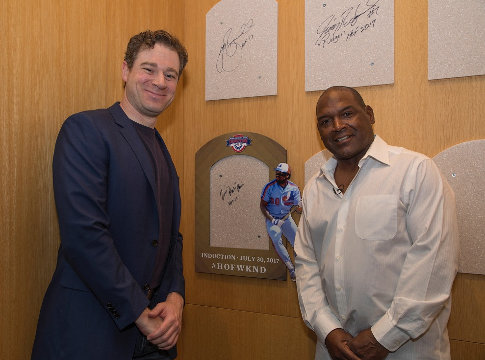 Jonah Keri (Montreal, Que.) grew up a Tim Raines fan and lobbied strongly for the Montreal Expos outfielder to reach Cooperstown ... and there they stood in front of where Raines' plaque will hang this July. Photo: Milo Stewart Jr. Staff Photographer, National Baseball Hall of Fame.