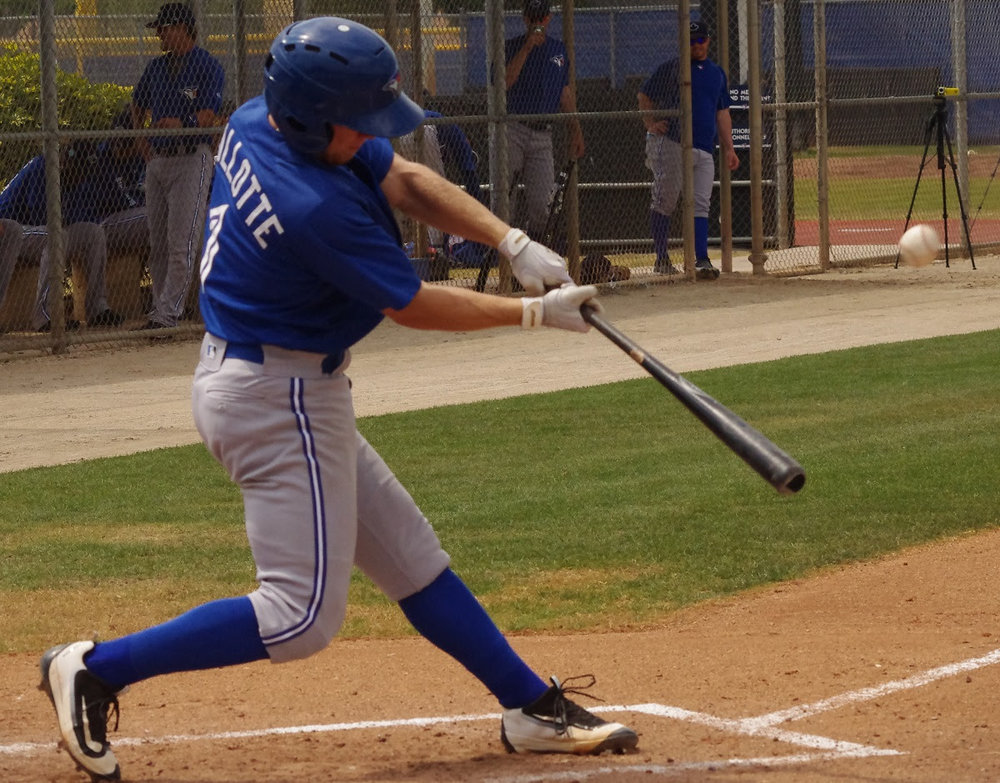 Andrew Guillotte hit two singles, a double and a home run, driving in a run for class-A Dunedin. Photo: Jay Blue.