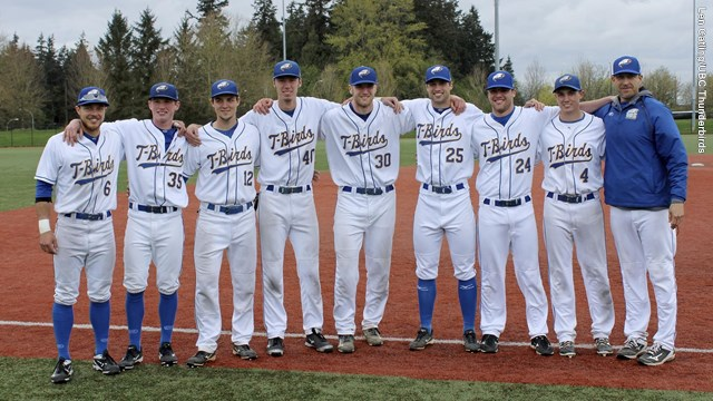 UBC seniors from left to right: Tyler Yorko (Burnaby, BC), Connor Noble (Vancouver, BC), Mackenzie Parlow (Qualicum Beach, BC), Vinny Martin (Pender Island, BC), Aiden Goodall (Nanaimo, BC), Liam Stroud (Maple Ridge, BC), Tyler Gillies (London, Ont.), Brendan Rose (Calgary, Alta.) and skipper Chris Pritchett.