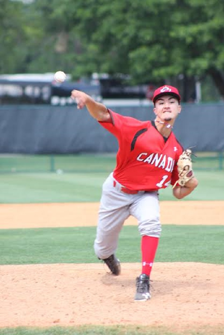 William Sierra (Montréal, Que.) pitched three scoreless innings in a 3-3 tie against Toronto Blue Jays prospects at extended spring. Photos: Eddie Michels.