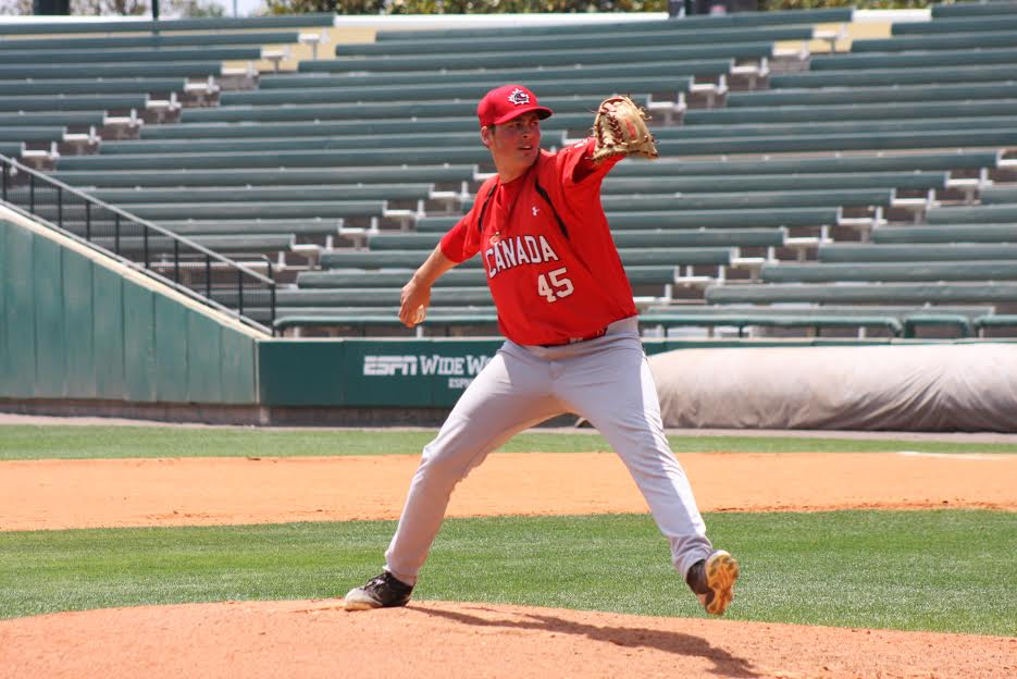 RHP Ben Abram pitched four innings allowing one unearned run as the Canadian Junior National Team edged a team of extended league players from Dunedin wearing Toronto Blue Jays uniforms. Photos: Eddie Michels.