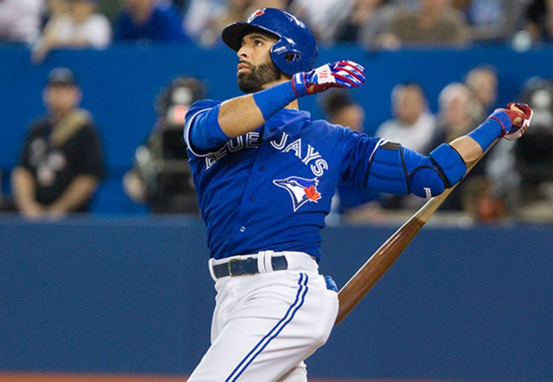 With a double and a single on Sunday, Jose Bautista became the ninth Toronto Blue Jays player to record 1,000 hits with the club.