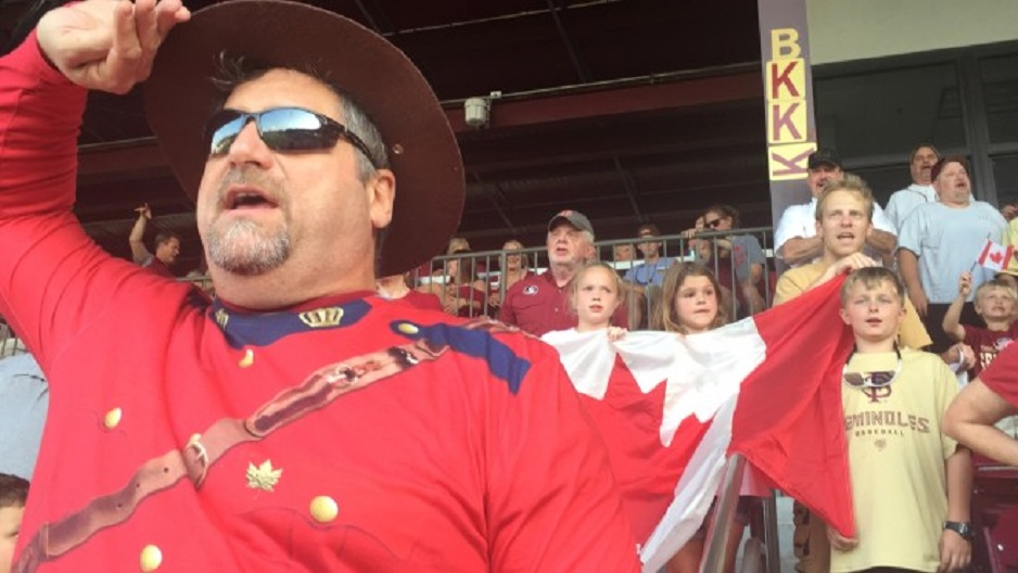 Florida State alum John Viele started dressing as a member of the Royal Canadian Mounted Police -- or Mountie -- during the fifth inning when the Animals of Section B sing 'O Canada.' Photo: Ryan S. Clark/Warchant