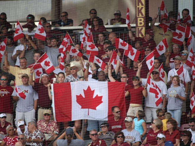 Canadian flags fly during the fifth inning of FSU home games. Photo: Courtesy of Florida State University