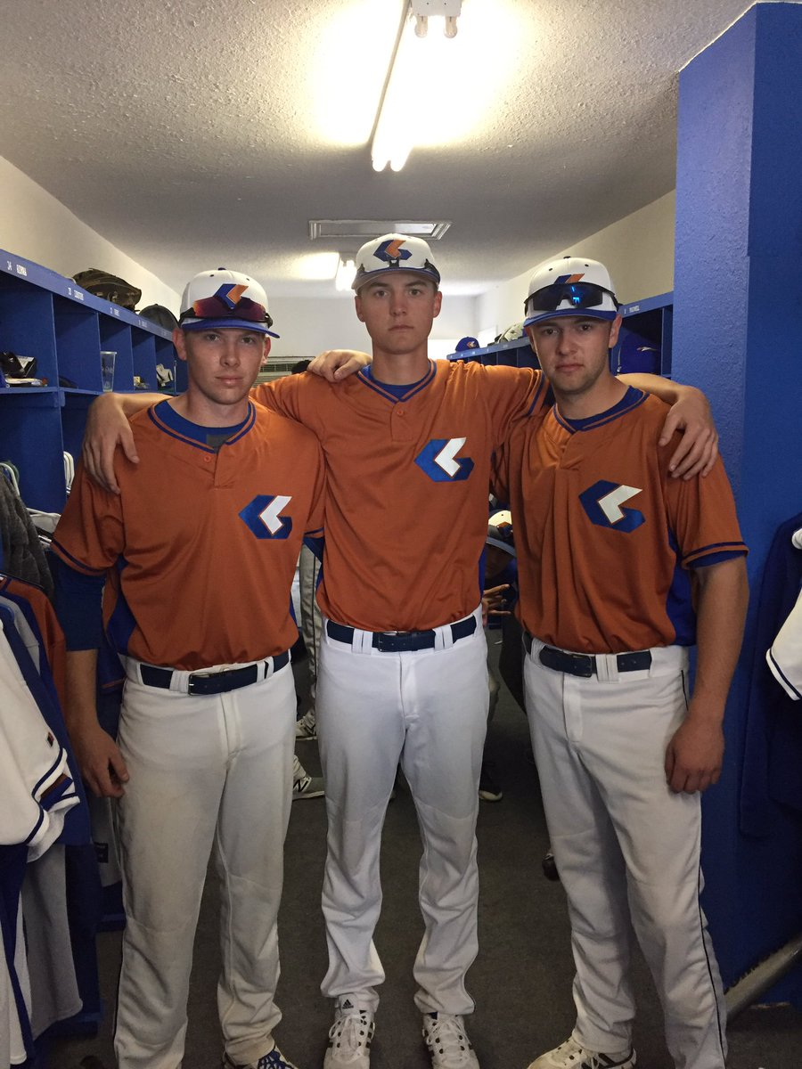 The Langley Blaze alumni association: Kyle Ross (Maple Ridge, BC) left, and Cooper Misic (Surrey, BC) right picked up victories, while Kristjan Storrie (Langley, BC), centre, gained a save.