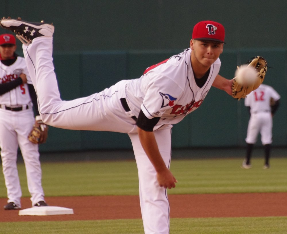 Right-hander Justin Maese held the Burlington Bees to just one earned run in seven innings to record the win for the Lansing Lugnuts on Friday. Photo Credit: Jay Blue