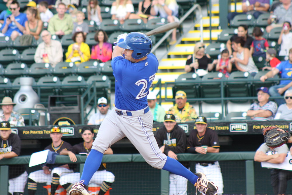 After making some adjustments to his swing, Toronto Mets graduate Connor Panas (Etobicoke, Ont.) is looking to make a splash with the Class-A Advanced Dunedin Blue Jays this season. Photo Credit: Eddie Michels