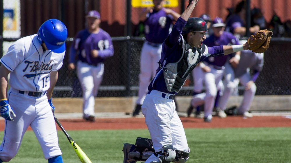 Coyotes C Sam Grise celebrtes after Austen Butler struck out in a 2-1 loss with the tying run on second. Photo: Bob Frid, UBC.
