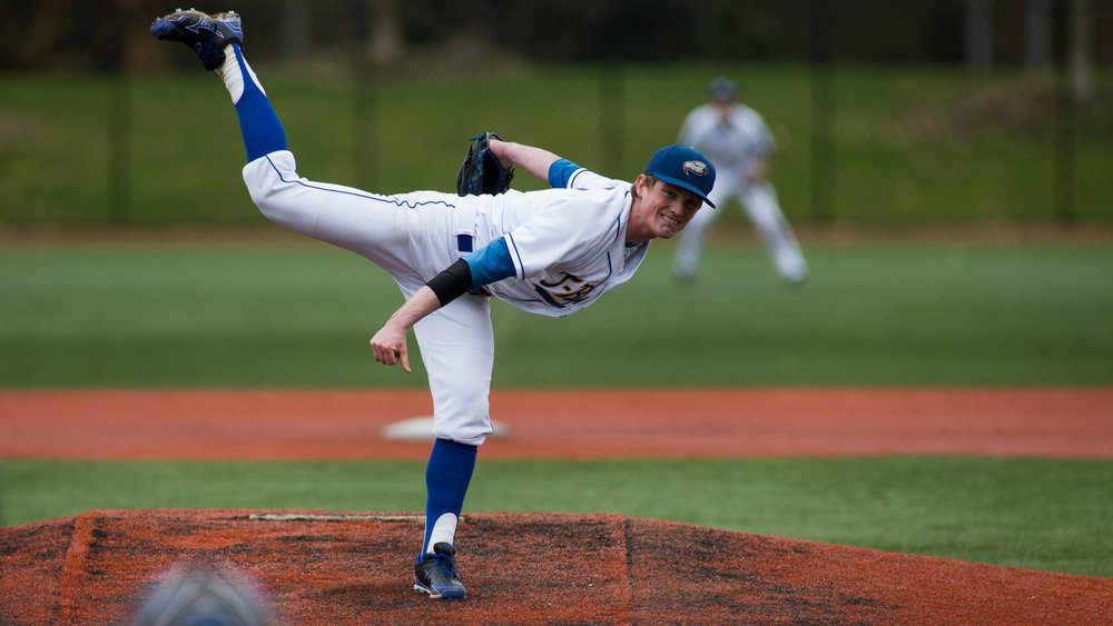 RHP Connor Noble earned NAIA-West pitch of the year honours. Photos: Bob Frid, UBC.