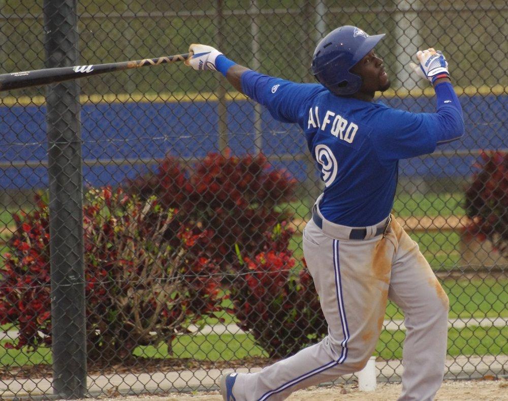 Prized prospect Anthony Alford went 4-for-5 and recorded an outfield assist for the New Hampshire Fisher Cats in the club's 7-6 loss on Wednesday. Photo Credit: Jay Blue