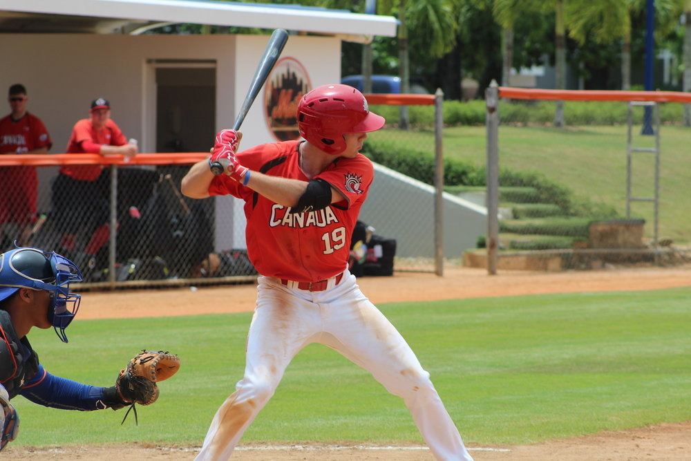 Jason Willow (Victoria, B.C.) had two hits for Canada in their 10-6 loss to a team of New York Mets prospects in their Dominican Summer League opener on Friday. Photo Credit: Baseball Canada