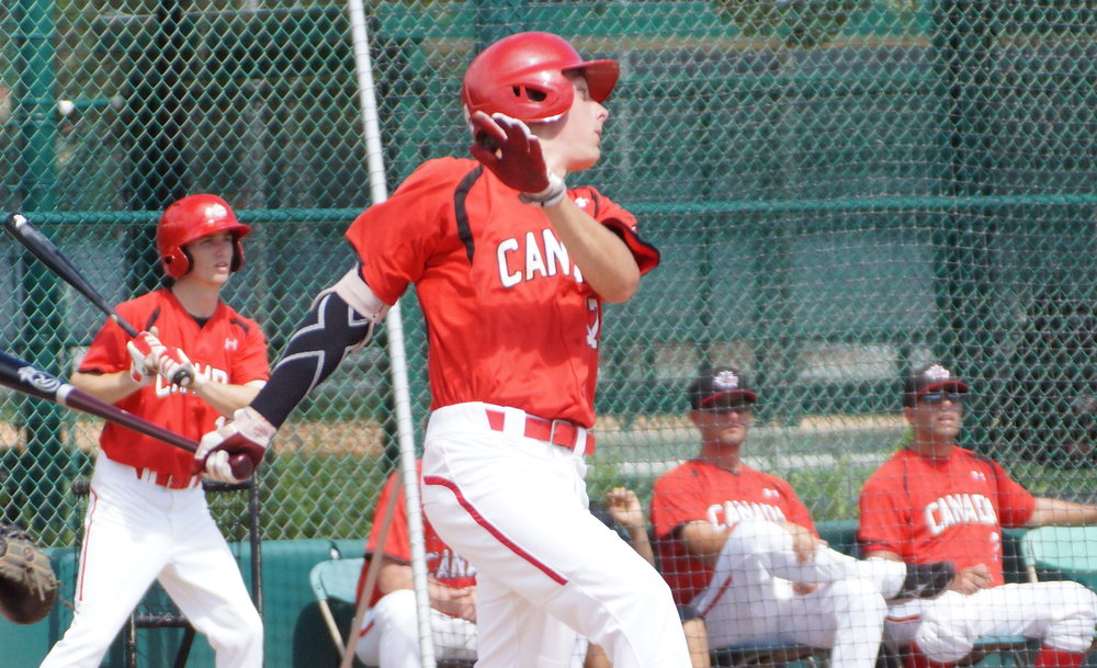 Second baseman Edouard Julien (Quebec City, Que.) reached base in all four of his plate appearances on Sunday, walking in his first three trips to the plate before adding an RBI single in the ninth. Photo Credit: Baseball Canada