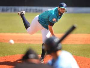 RHP Jonathan Albaladejo was a 15-game winner -- with 164 strikeouts in 172 innings -- earning independent Atlantic League pitcher of the year honors for the Bridgeport Bluefish in 2016.  Photo courtesy Atlantic League.